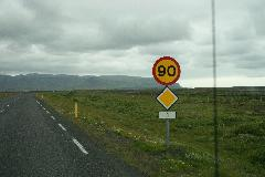 Iceland 90 km/h speed road sign.