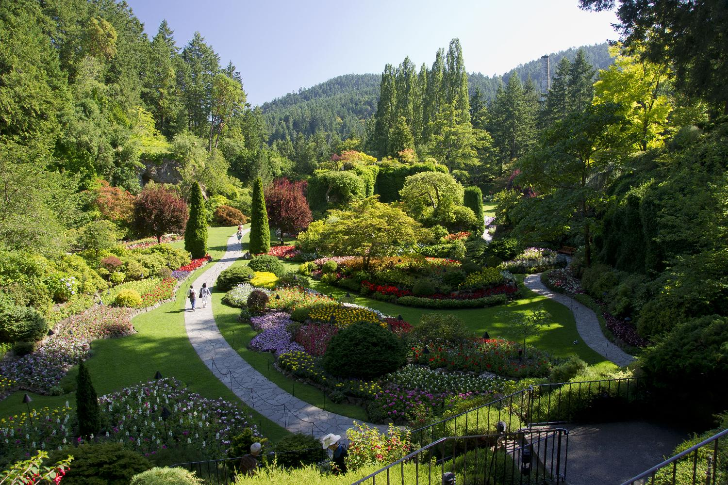 View of the Sunken Gardens at Butchart Gardens in Brentwood Bay near Victoria British Columbia.