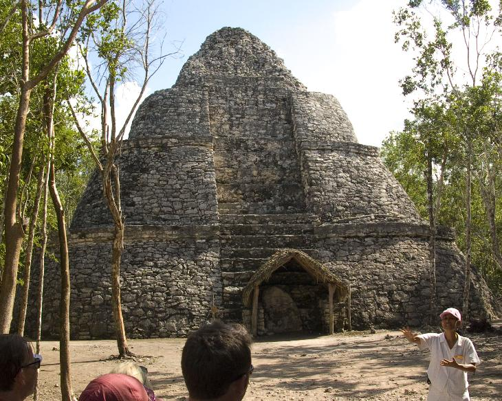 Temple called the Crossroads Temples.  Located at the Mayan Coba Ruins in Mexico.  On list of mesoamerican pyramids. The large building called Xaibe was also used as a lookout tower.