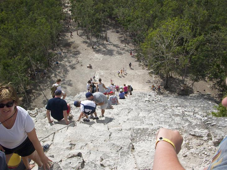 Looking down from the top of the Nohoch Mul Pyramid in Coba Mexico.  On the site of the Coba Ruins in the Mayan Riveria.