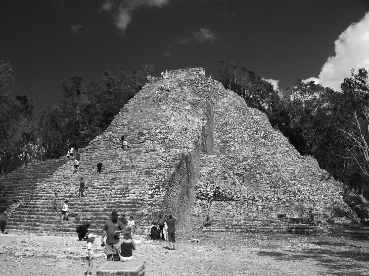 Black and white photo of the Nohoch Mul Pyramid located in the Mayan Ruins of Coba, Mexico.