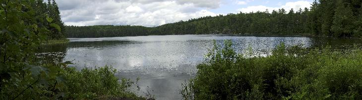 Stitched panoramic photo of Rosepond Lake in Algonquin Park, Ontario, Canada.  This lake is a stop along the Booth's Rock Trail. Might also be found a rose pond lake.