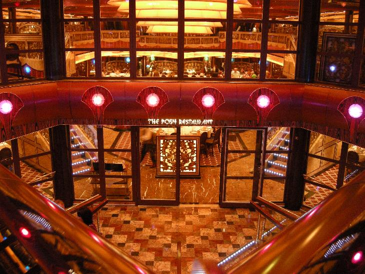 Photo of entrance to Posh Restaurant inside the cruise ship Carnival Freedom.