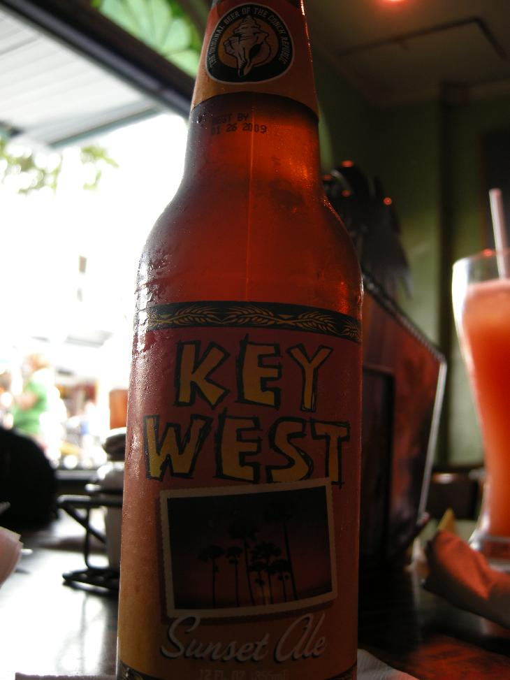 Bottle and label of Key West Sunset Ale.  Brewed by the Florida Beer Company