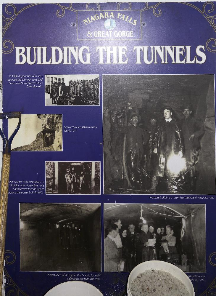 Poster in the tunnels of Naigara Falls, describes the building of the tunnels under Niagara Falls.