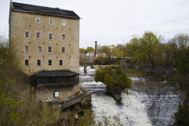 Photo of Elora Mill Inn on the Grand River in Elora Ontario Canada.