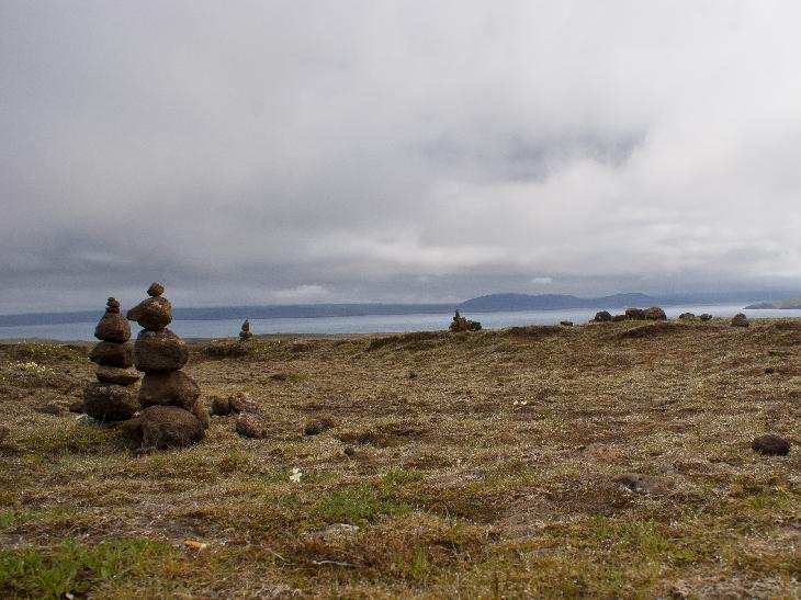 A photo of a number of small inukshuks just outside of Thingvellir (Þingvellir)