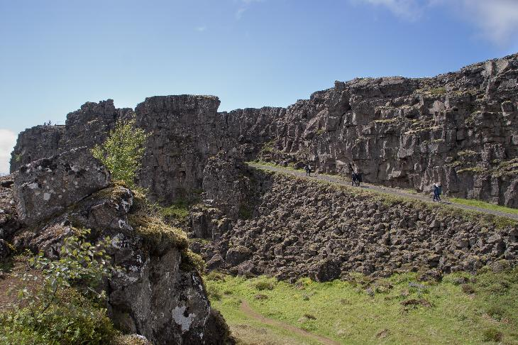 Photo along the Almannagja Rift at Thingvellir National Park in Iceland. (Pingvellir)(Þingvellir