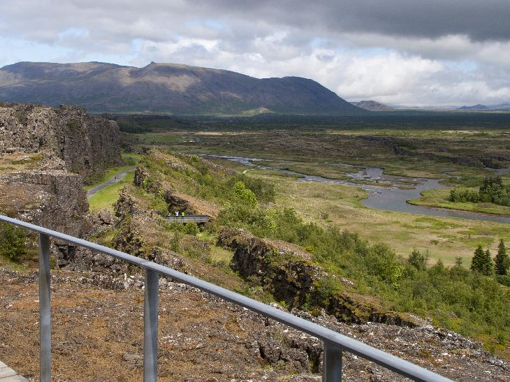 View while at the top of the Almannagja Rift at Thingvellir National Park in Iceland. (Pingvellir)(Þingvellir