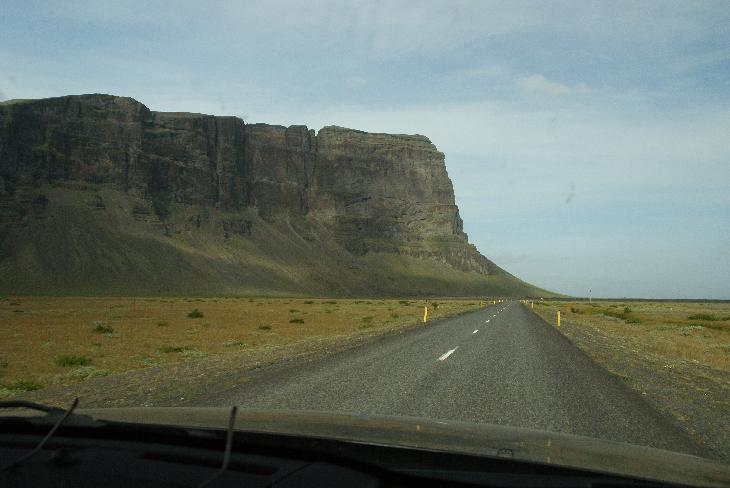 Photo of the west side of the mountain Lómagnúpur in Iceland from Ring Road 1 (Lomagnupur).  This mountain is 688 meters (2250 feet) high.