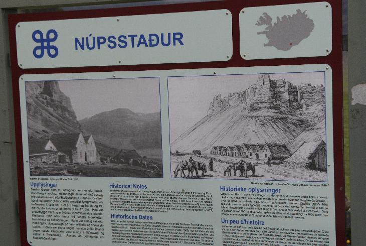 Nupsstadur is the easternmost farm of the Fljot County, just to the west of the largest alluvial / outwash plain of the country, Skeidararsandur, where the glacier burst took place in November 1997 as a result of the sub glacial eruption in October the same year.