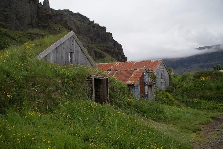 Nupsstadur farm in Iceland - view of sod covered barns.