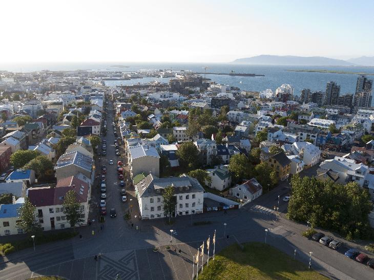 View of Reykjavik as taken from the Hallgrímskirkja church.  Viewing the north west quadrant of the city.