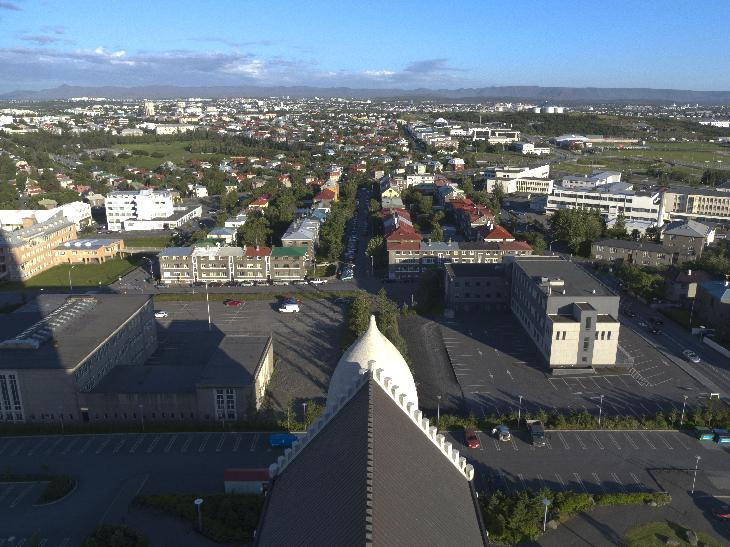 View of Reykjavik as taken from the Hallgrímskirkja church.  Viewing the south east quadrant of the city.