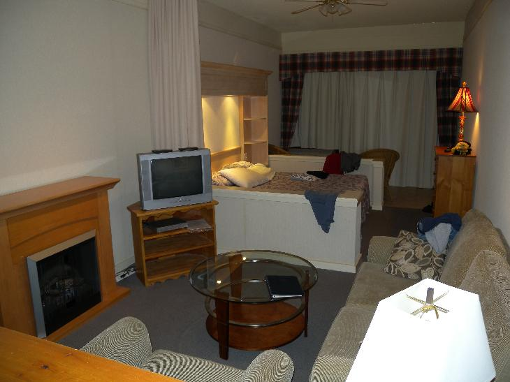 A view of a room at Royal Harbour Resort in Thornbury.  Photo shows living area and sleeping area.