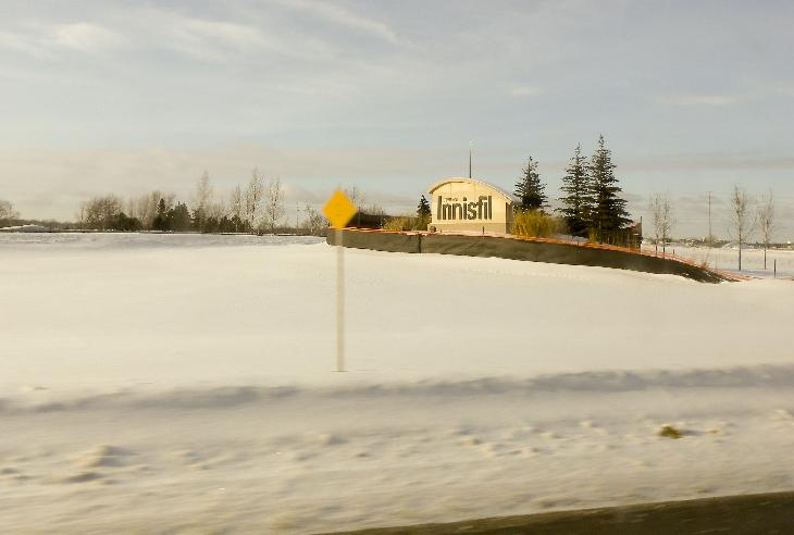 Photo of the town of Innisfil Welcome Sign at Highway 400 and 89