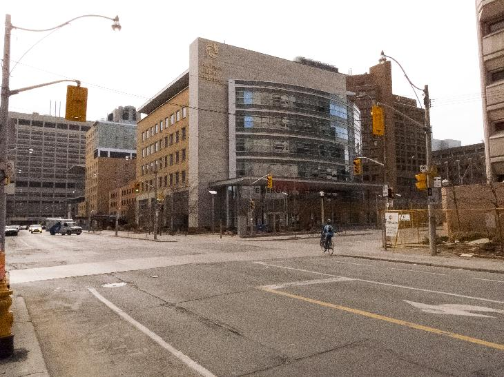View of Toronto General Hospital R. Fraser Elliott building on Gerard Street viewing west.