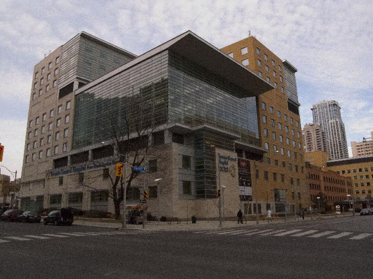 Photo of the Peter Munk Cardiac Centre at Toronto General Hospital.  Taken across the street on University Avenue.