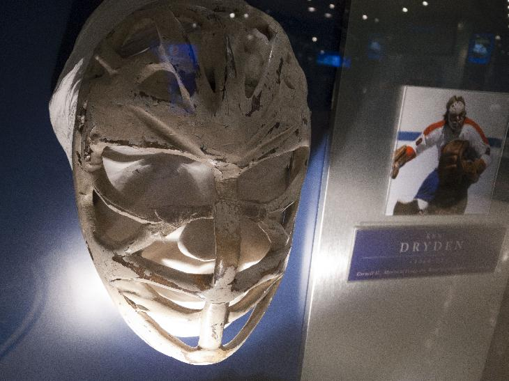Photo of the Ken Dryden mask in Hockey Hall of Fame Mask. 1966-73 Mask.  Wore as member of the Montreal Canadiens.