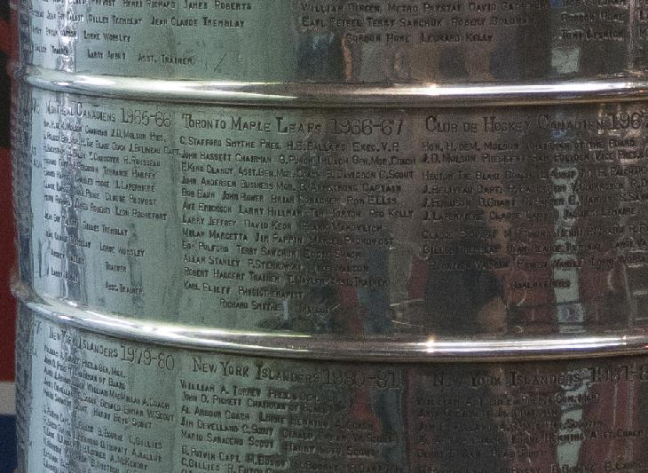 Photo of all the members of the 1966-1967 Toronto Maple Leafs on the Stanley Cup.  Taken in Hockey Hall of Fame.  Includes Dave Keon, Frank Mahovlich and Tim Horton.