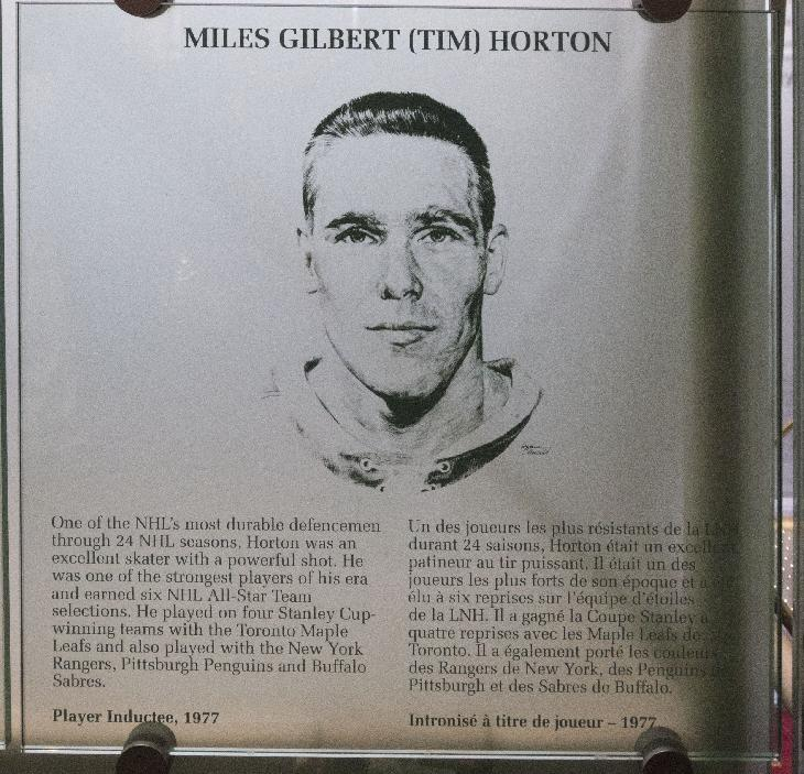 Photo of Tim Horton's Hockey Hall of Fame photo and plaque in Toronto. (Miles Gilbert Horton)