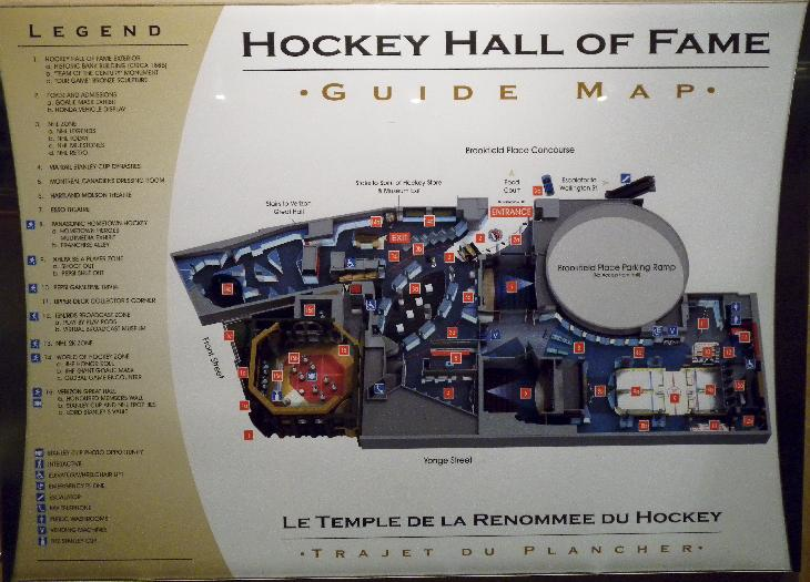 A photo of the guide map to the hockey hall of fame.  Taken inside the building.