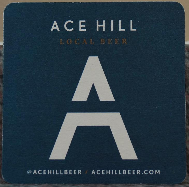 A beer coaster from Ace Hill Beer Company.  Used in 2017.  There are multiple versions, this one is blue, another one is white.