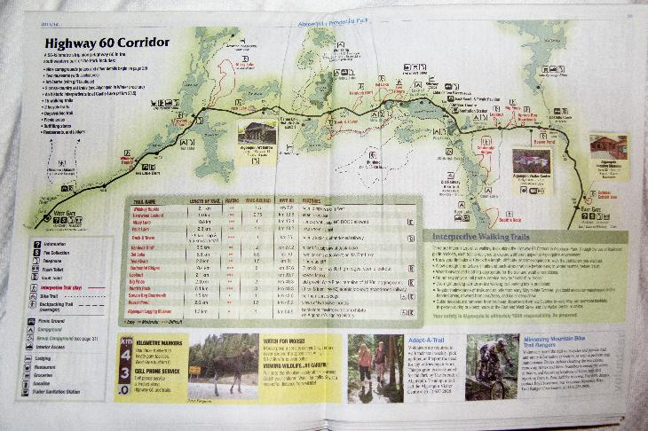Map from the centerfold of the Algonquin Park visitor guide showing the trails along the Highway 60 corridor.