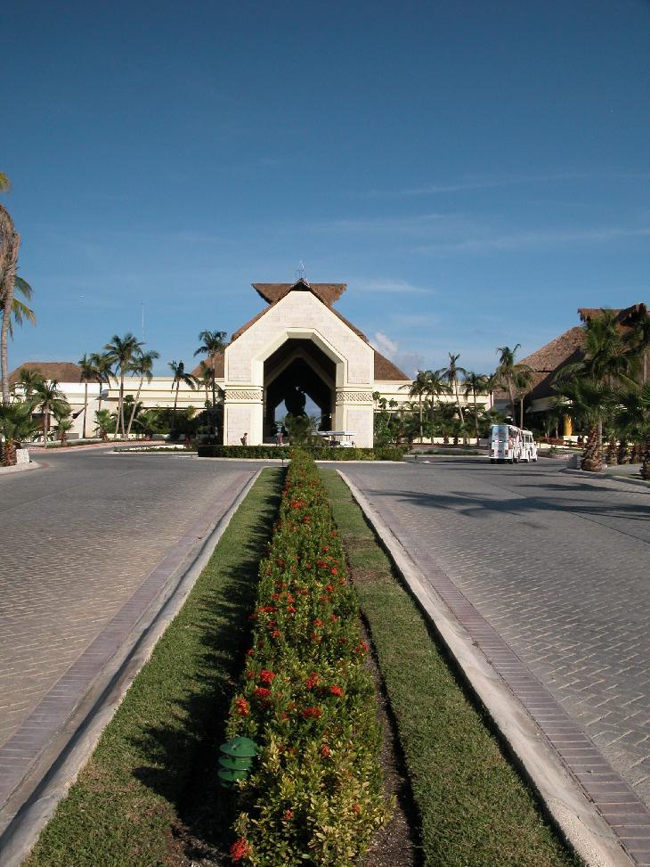 The driveway and entrance into the Bahia Principe Akumal resort in the Mayan Riveria of Mexico.  Near Cancun