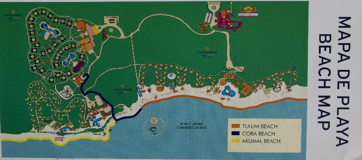 Beach Map taken from flyer at Bahia Principe in Mexico.  Shared by Bahia Principe Coba, Akumal and Tulum.
