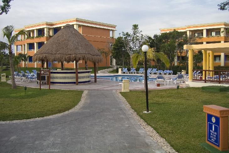 The 'Bar Chit' pool and bar at the resort Bahia Principe Coba.  The resort is located in the Mayan Riviera in Mexico, near Tulum.