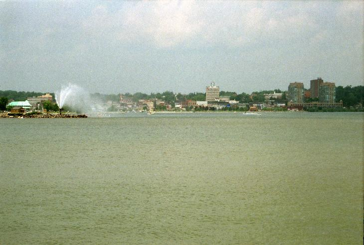 Barrie water front and city hall, taken from across Kempenfelt Bay during the summer of 1999.  Scanned from a negative.
