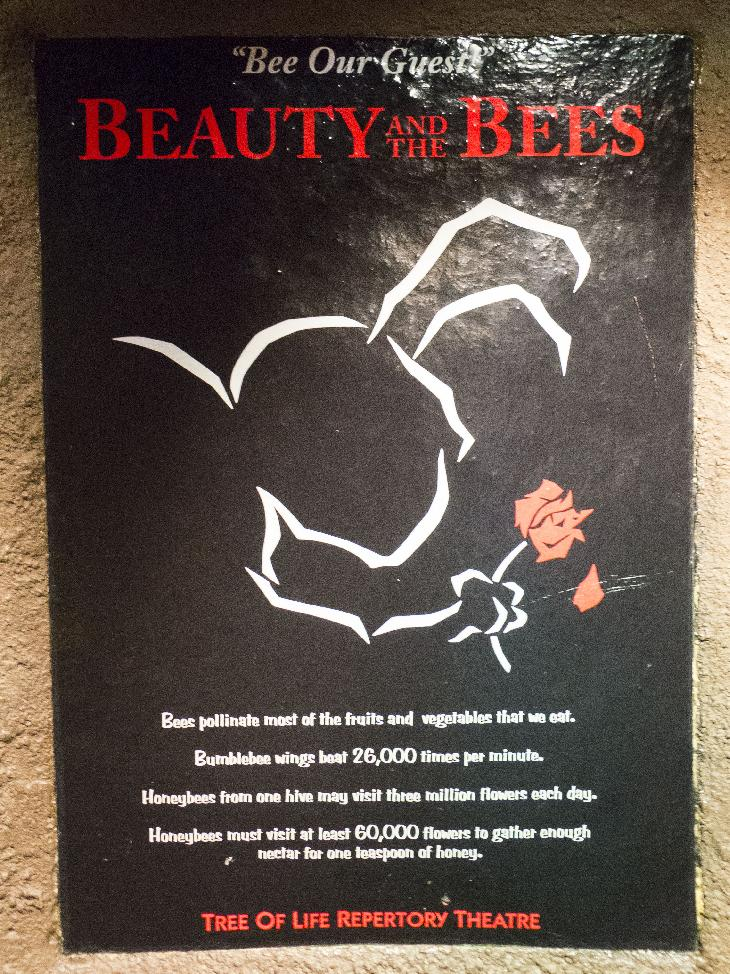 This photo of the Beauty and the Bees fake movie poster is located at the It's Tough to be a Bug! Attraction is housed in a 430-seat theater at the base of the Tree of Life in Discovery Island Land at Disney's Animal Kingdom Theme Park.