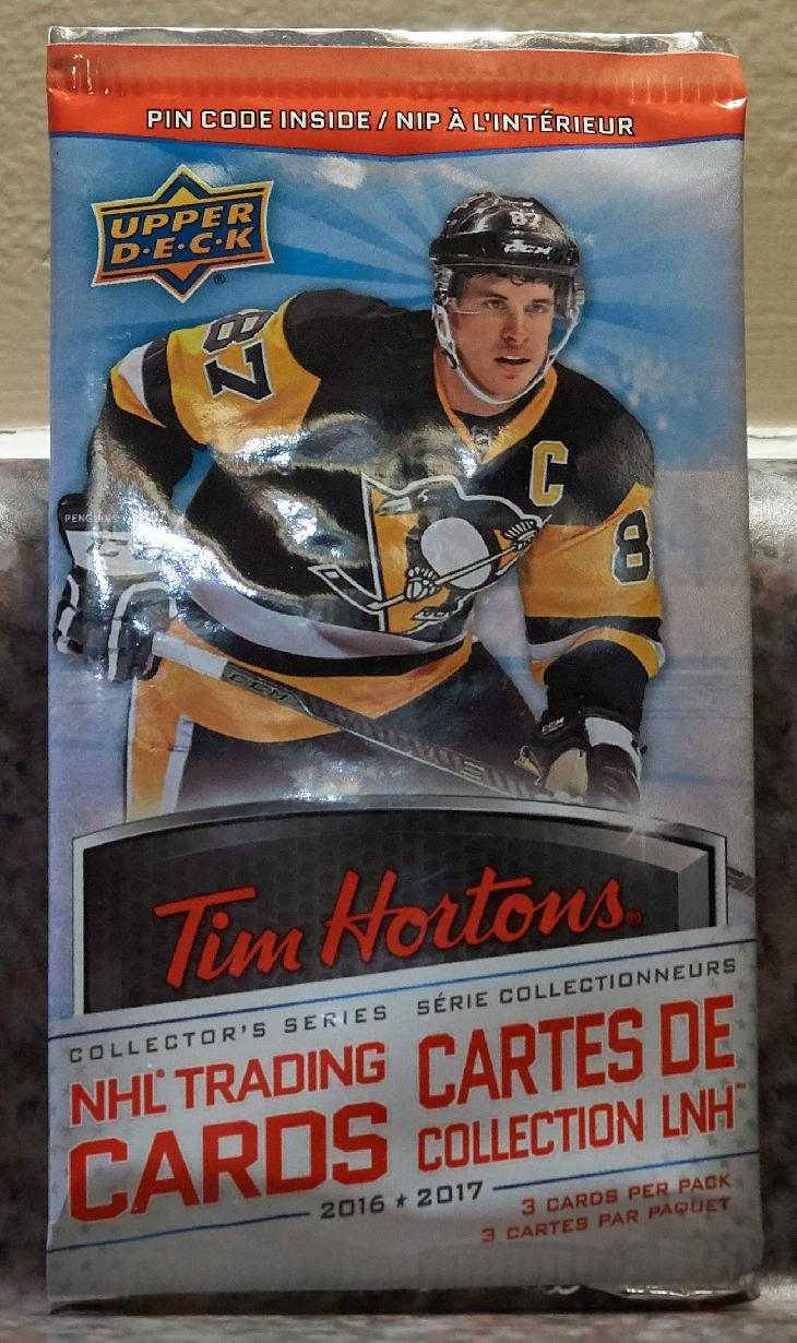 The card wrapper for Tim Hortons Collector's Series Hockey Cards.  Sydney Crosby is pictured on the wrapper. The cards were manufactured by Upper Deck.  Released during the fall of 2016.