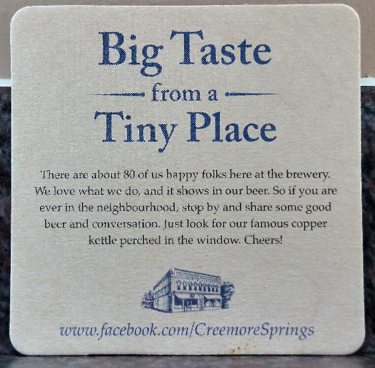 This is the reverse side for a beer coaster from Creemore Springs Brewery Limited. This 2017 version featuring their Premium Lager, has a drawing of a spring in it. It also states that Creemore Springs was established in 1987.
