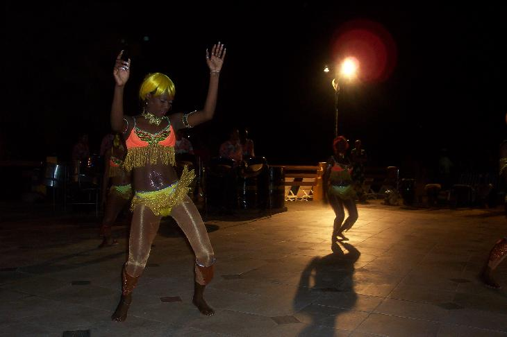 Photo of evening entertainment dancers at Sandals Grande St. Lucian.
