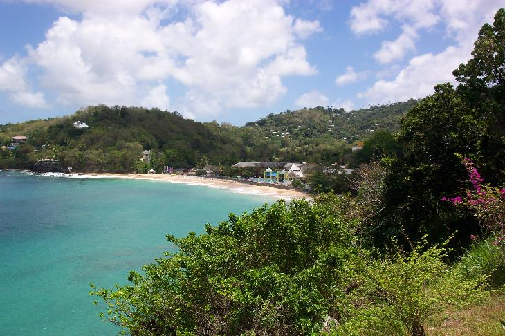 Beach view of Sandals La Toc Resort. Located in St. Lucia.  This resort was named Sandals Regency Golf Resort and Spa.