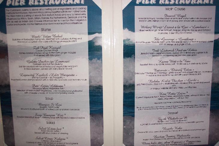 Photo of the menu ion the Pier restaurant at Sandals Halcyon Beach Resort in St. Lucia