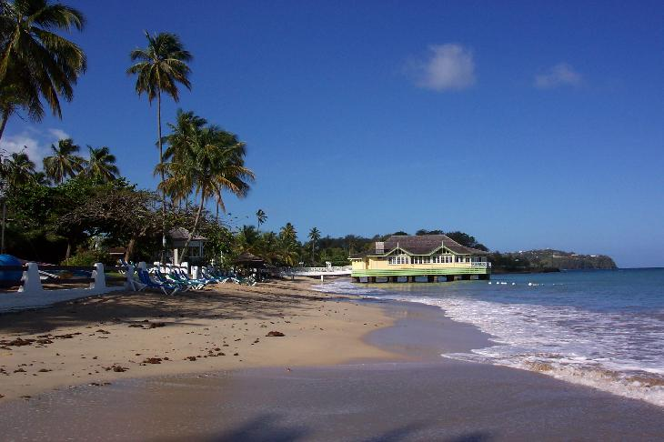 View of beach and Pier Restaurant at Sandals Halcyon in St. Lucia