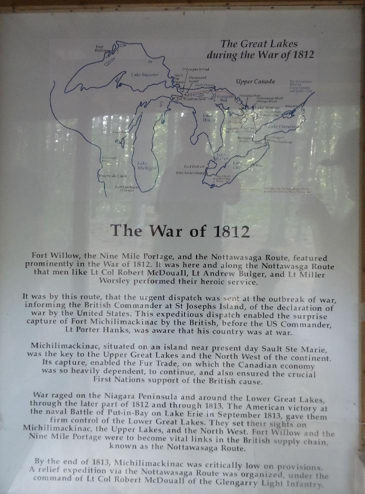One of a set of signs at Fort Willow, describing the involvement of Fort Willow in the War of 1812. Located in Ontario near the minesing swamp.