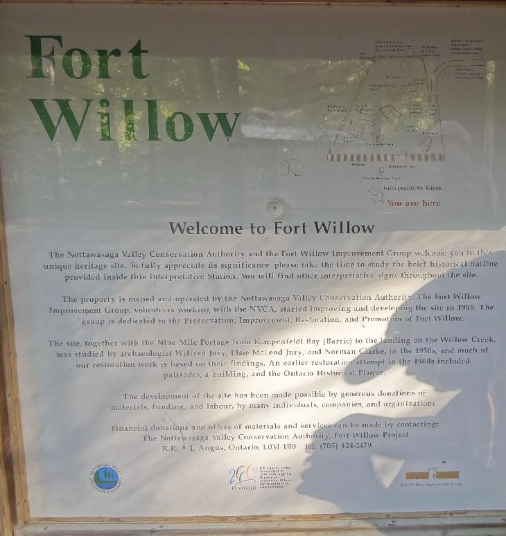 The Willow Fort layout is shown on this sign within the fort area.  Located in Ontario near the minesing swamp.