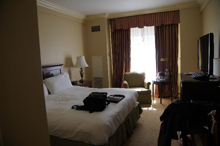 View of room at Fairmont Royal York with king size bed. 8th floor room in east wing. Toronto.