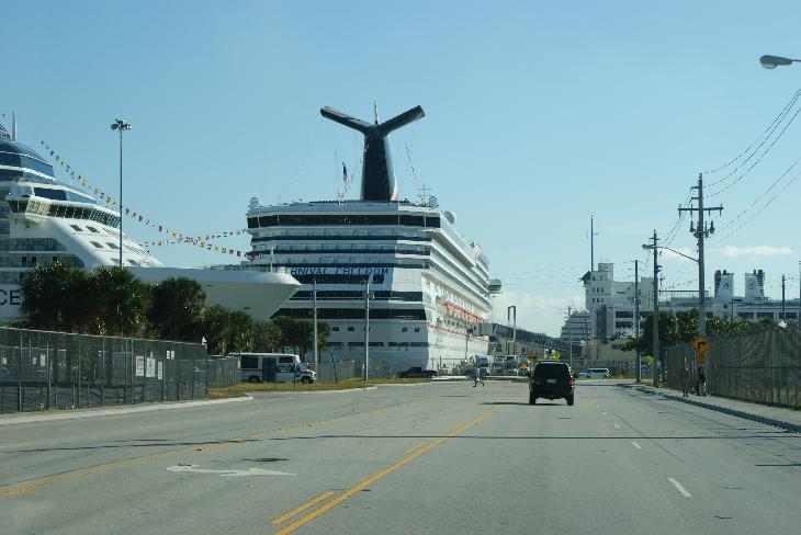Photo of Carnival Freedom cruise ship at the Port Everglades pier in Fort Lauderdale.