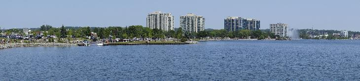 An in camera stitched panoramic photo of the Centennial Beach skyline in Barrie, Ontario.