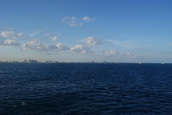 Skyline of Fort Lauderdale, taken from the Carnival Freedom cruise ship, leaving the Port Everglades terminal. Time of day was late afternoon, in February.