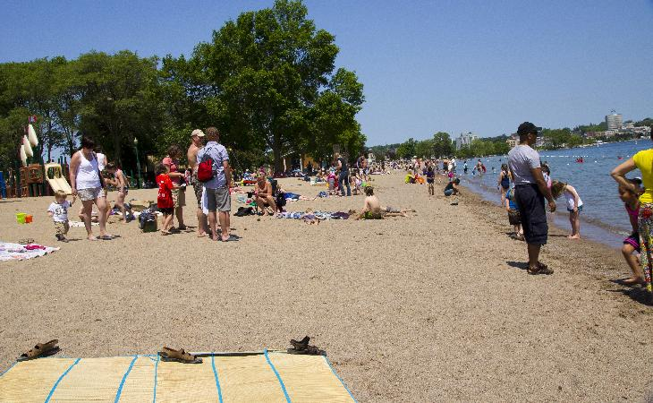 View of Centennial Beach in Barrie.  Looking in a northerly direction.