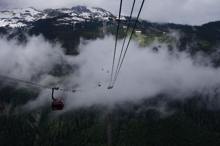 A veiw from a gondola in the Peak 2 Peak lift at Whistler Blackcomb, showing other gondolas passing through the clouds.