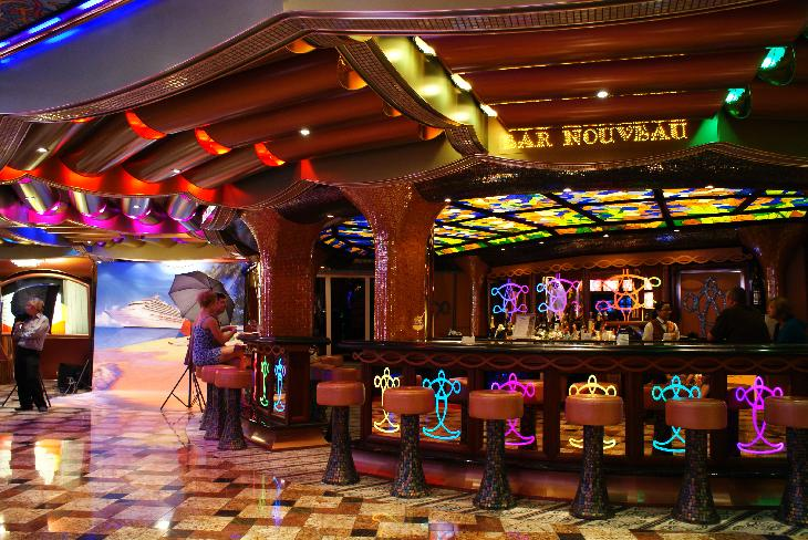 Photo of the bar called Bar Nouveau on Carnival Freedom Cruise Ship.  Located on Promenade deck.