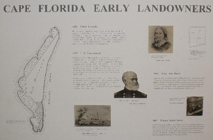 A display at Key Biscayne National Park, showing the early landowners of Key Biscayne.