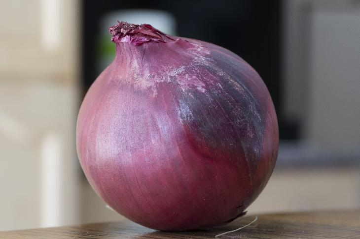 This stock photo of a red onion can be used free of any royalties.  Photo was taken with a 18-250 lens on Sony A57 camera.